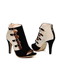 Women's Peep Toe Sexy High Heels Ankle Pumps Cutout Ankle Booties