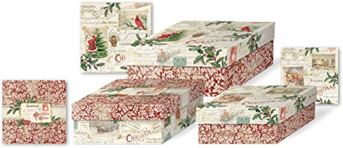 Punch Studio Nested Box Set, Postcards & Holly, Set of 3 (45317N) (Decor Holiday Holly Wrap)