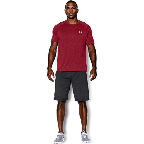 Under Armour Men's Tech Short Sleeve T-Shirt, Crimson /White, Medium
