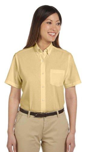 Van Heusen Ladies Short Sleeve Wrinkle Resistant Oxford Shirt, YELLOW, S