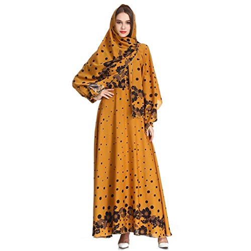 (Sunyastor Muslim Dresses for Women with Hijab Muslim Print Sleek Temperament Slim Noble Kaftan Abaya Evening Gown Maxi Dress)