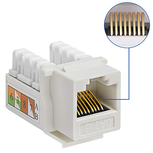Antook RJ45 Keystone Jack Ethernet Punch Down Cat 6 5e 5 Inserts Network Module (10 Pack)
