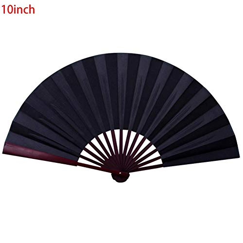 Eine-Shop 8 inch/10 inch Folding Fan Silk Cloth Blank Chinese Folding Fan Wooden Bamboo Antiquity Folding Fan for Calligraphy Painting ()
