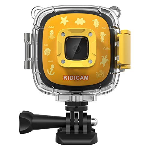 Dragon Touch Kids Camera Kidicam 1080P Action Camera 100 feet Waterproof Camera Yellow