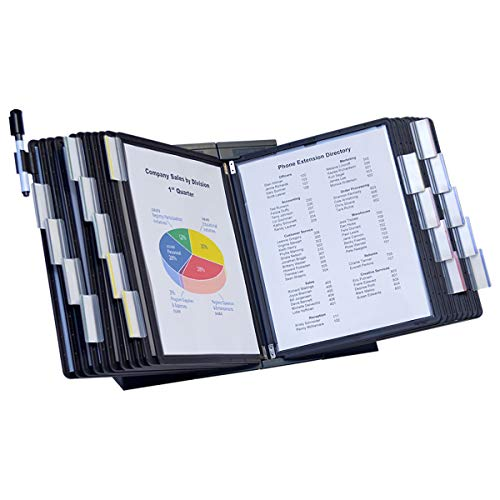 (Ultimate Office DocuMate 20-Pocket Desk Reference Organizer with Black Easy-Load Pockets, Steel-Reinforced Pins, and Free Bonus Panel)
