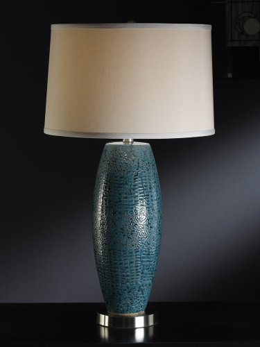 picture of Ceramic Lamp in Turquoise Blue Pearlized Finish