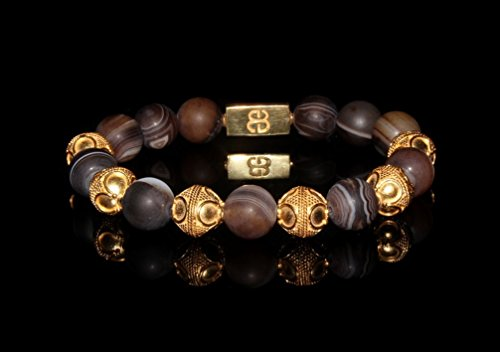 Men's Matte Brown Striped Agate Bracelet, Gold and Brown Agate Beads Bracelet, Men's Luxury Bracelet, Men's Gold Bracelet by Kartini Studio