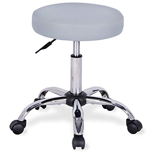 UREST Rolling Stool Adjustable Stool Massage Stool Swivel Office Desk Stool Chair with Wheels for Home,Office,Spa,Shop,Vanity in Grey