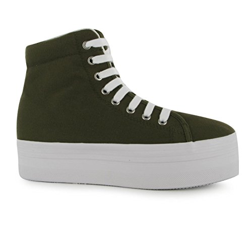 Jeffrey Campbell Play Canvas Plattform Shoes Damen Khaki High Top Sneaker