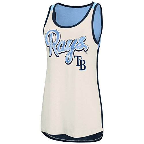MLB Tampa Bay Rays Women's Triple Play Tank Top, X-Large, Vintage White/Navy