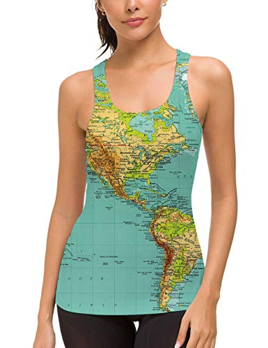 uideazone Women Running Muscle Tank Tops 3D Map Printed Workout Racerback Tanks Summer Sleeveless Sport Yoga Shirt Casual Graphic Tees Medium