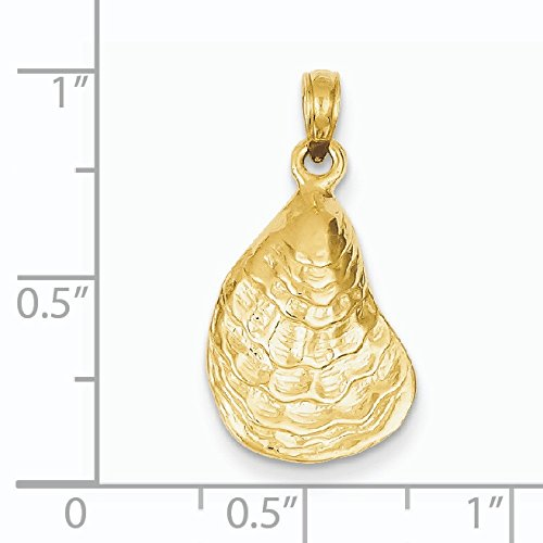 Pendentif Coquille d'huître 14 carats-Dimensions :  24,5 x 33,8 mm-JewelryWeb