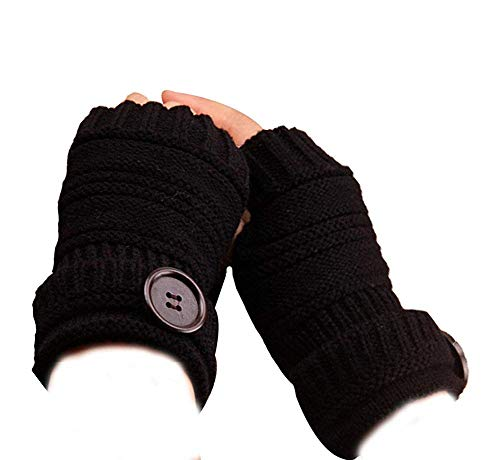 Yevison 1Pair Knit Wrist Button Pattern Half Fingerless Thumb Hole Warm Gloves Women Girl Durable and Useful