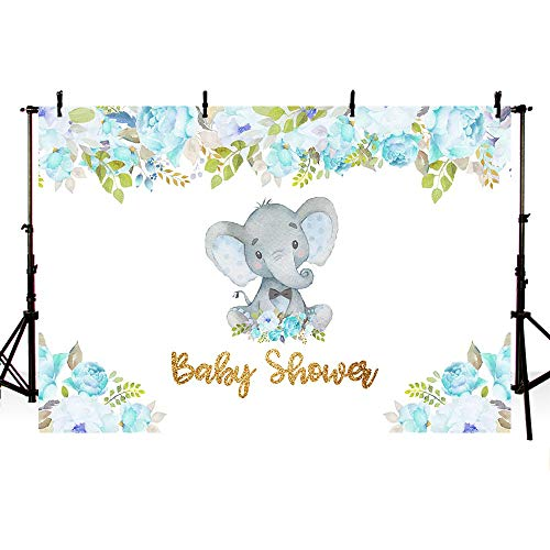 MEHOFOTO 7x5ft Cute Elephant Boy Prince Baby Shower Party Backdrop Blue Flowers Spring Welcome Decorations Photography Background Photo -