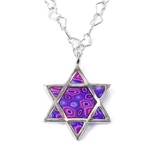 (925 Sterling Silver Star of David Necklace Jewish Pendant Handmade Purple Polymer Clay Jewelry, 16.5