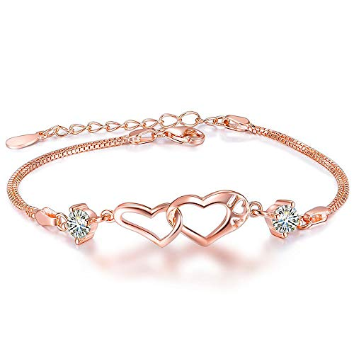 Women Heart Infinity Love Bracelet, Rose Gold Sterling Silver Adjustable Crystal Interlocking Bangle Bracelets for Teen Girls girlfriend,Valentine's Day Jewelry Gifts (C-rose gold heart ()
