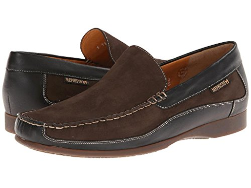 Mephisto Men's Baduard Slip-On Loafer, Dark Brown Nubuck/Black Calf, 10.5 M -