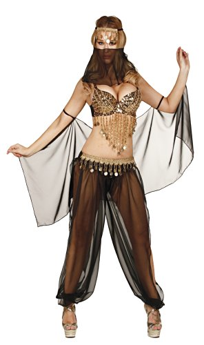 Nom de Plume, Inc Sexy Chiffon 5 Pieces Bellydancer Set Small Black/Gold - Belly Dancer Costume Black