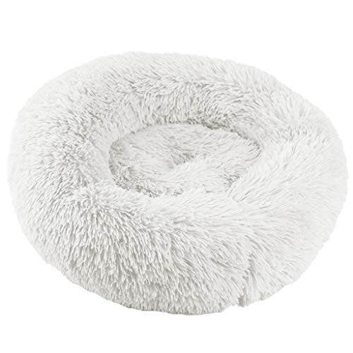 Dog Cat Round Bed Fluffy Fur Comfy & Soft Sleeping Bed Plush Calming Cuddler (S, White) ()