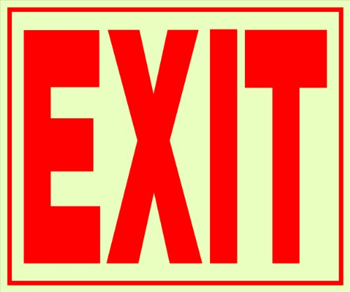 - Hillman 840201 Exit Self Adhesive Sign, Glow in the Dark Vinyl with Reflective Red Lettering, 11x12 Inches 1-Sign