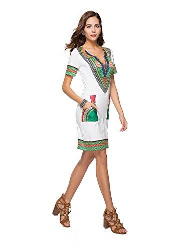 Con Estivo Da CasualcolorBlack BlackSize Stampa Scollo A Yahuyaka Vestito white Donna V E Abito On XlOff Tl3FK1Jc