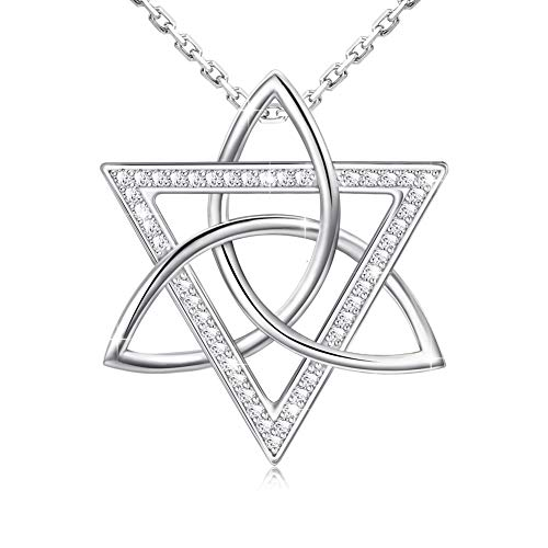 Star Of David White Necklace - Apotie 925 Sterling Silver Star of David Pendant Necklace Gifts Jewelry with White Gold Long Chain for Women