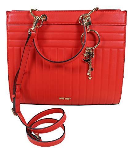 Nine West Hazel Faux Leather Satchel Bag Purse (Firey Red/Gold) ()