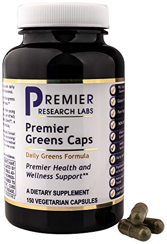 PREMIER RESEARCH LABS Premier Greens Caps - Transform Your Body and Boost Your Energy With This Vegetarian Blend Of The Finest, Most Pristine Greens (150 Capsules)