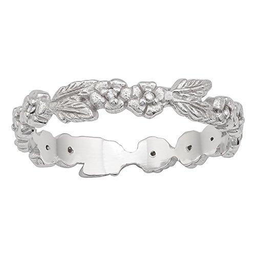 Instagems 10k White Gold Engraved Leaf Diamond Eternity Ring (I-J Color, I2-I3 (Diamond Engraved Eternity Band)