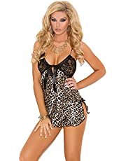 Elegant Moments Women's Naomi Charmeuse Print Chemise with Lace Cups