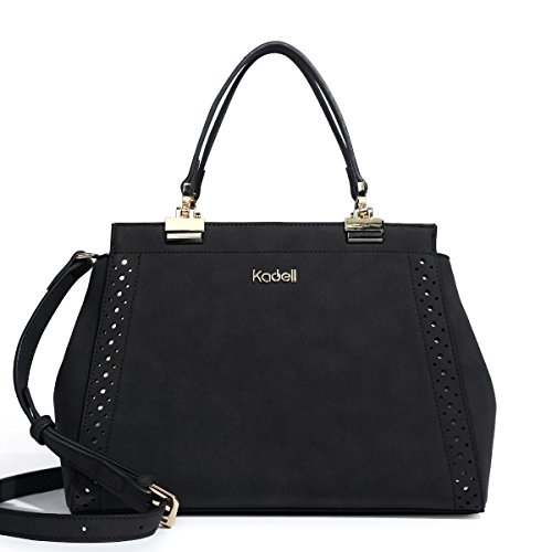 Matte Handbags Gold - Kadell Matte Leather Handbags for Ladies Doctor Purse Hollow Out Designed Shoulder Bag Black