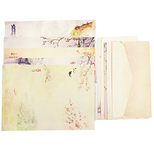 QingLanJian Classic Vintage Ancient building and Charming Flower Chinese Style Writing Paper and Envelopes Stationary Set-40 sheets writing paper and 20pcs Envelopes