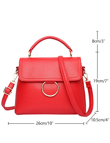 Bandoulière Purse Sac Ladies Womens Leather À Rouge Grand Menschwear Pu qp0Utf