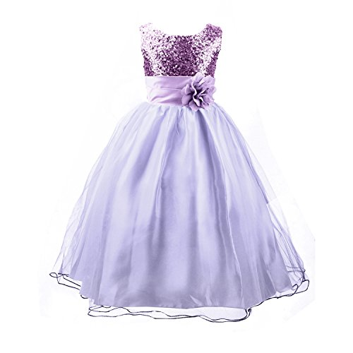 Acecharming Little Girls' Sequin Mesh Flower Ball Gown Party Wedding Tulle Ruffle Dress, Suitable for 6-7 Years(Purple)