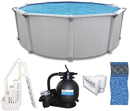 """24 Round 54/"""" High 40 Year Warranty Above Ground Swimming Pool Package"""