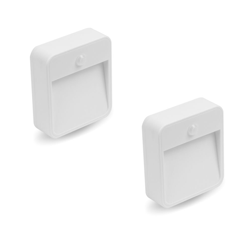 Adalite Motion Sensor LED Night Light, Battery-Powered Light for Hallway, Stairs, Basement, Bathroom, Pantry, Easy to Stick Anywhere, 2 Pack