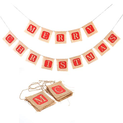 Merry Christmas Jute Burlap Banner for Fireplace, Farmhouse Christmas Decorations -