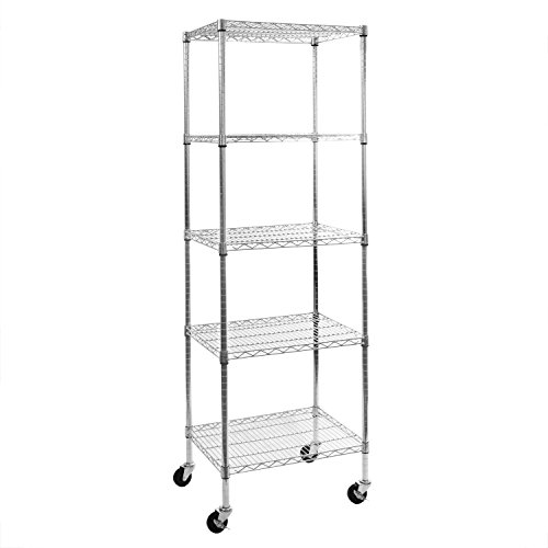 "Seville Classics 5-Tier UltraZinc NSF Steel Wire Shelving /w Wheels, 18"" D x 24"" W x 72""H"