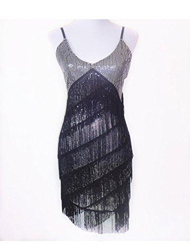 Danza Mujer Latín Discoteca Concurso Negro Danza Tassle Vestido Moderno Plateado Vestido r46nxwqr