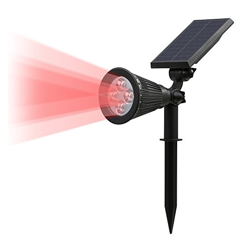 T-SUN Solar LED Outdoor Spotlight Wall Light, IP65 Waterproof,Auto-on At Night/Auto-off By Day,180°angle Adjustable for Tree, Patio, Yard, Garden, Driveway, Stairs, Pool Area (Plastic Area Wall)