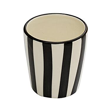 Clearance Sale on 3.5  Decorative Tumbler Ceramic - Multiuse Toothbrush Toothpaste Stand/Holder - Hand-Painted Black White Tumbler - Kitchen Sink/Bathroom Accessories - Beautiful Bath Sets Bathroom Décor from SouvNear