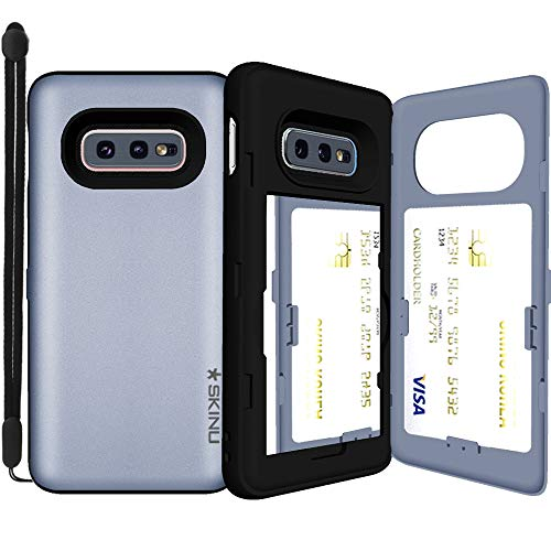 (Galaxy S10e, SKINU [Galaxy S10e Wallet] S10e Dual Layer Hidden Credit Holder ID Slot Card Case with Wrist Strap Inner Mirror for Galaxy S10e (2019) - Orchid Gray)