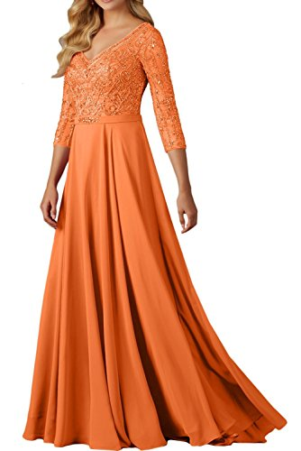 La V Orange Ausschnitt Braut Brautmutterkleider Abendkleider Perlen Neu Marie Pfirsisch Damen Langarm Festlichkleider FFwZrYq