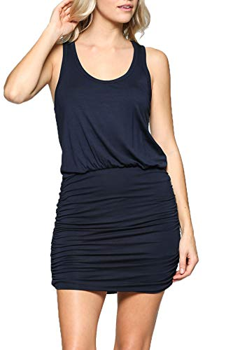Ruched Dress - LaClef Women's Mini Ruched Tank Shift Dress (Navy, L)