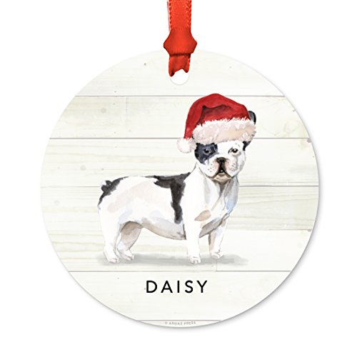 Andaz Press Personalized Animal Pet Dog Metal Christmas Ornament, Black and White French Bulldog with Santa Hat, 1-Pack, Includes Ribbon and Gift Bag, Custom Name (Custom Baubles Christmas)