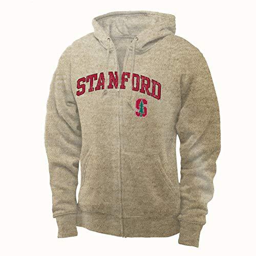 Shop College Wear Stanford University Men's Zip-Up Sweatshirt-Oatmeal (Stanford University-shop)