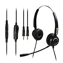 AGPtek® Dual 3.5mm Binaural Telephone Headset Headphone with Noise Canceling Microphone + 3.5MM QD + Volume Mute Controls for Most Office Telephone & Business Telephone & Home Telephone & Call Center Telephone