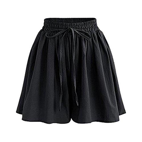Women's Summer Drawstring Wide Leg Chiffon Shorts High Waist Culottes Shorts Black Tag 6XL-US 16 by Gooket (Image #1)