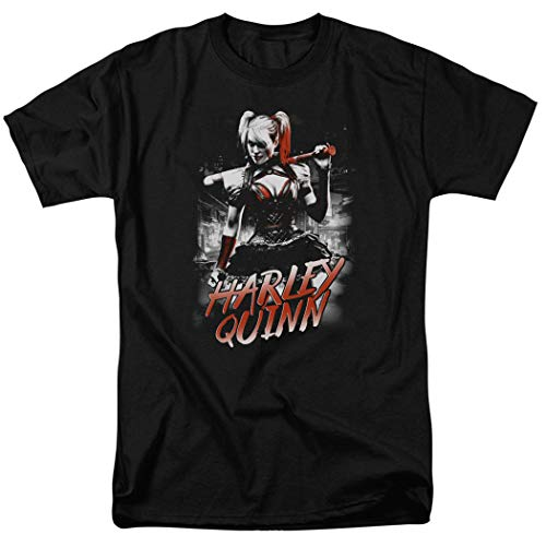 Harley Quinn with Baseball Bat DC Comics T Shirt & Stickers (Medium) Black