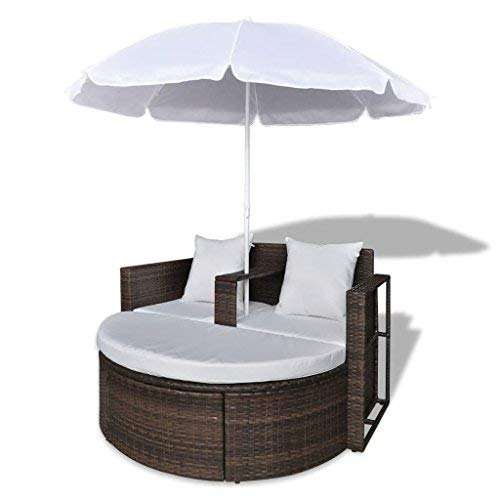 BLXCOMUS Outdoor Brown Garden Sun Bed Poly Rattan Lounge Set with Parasol Patio Lounger Recliner Chaise ()
